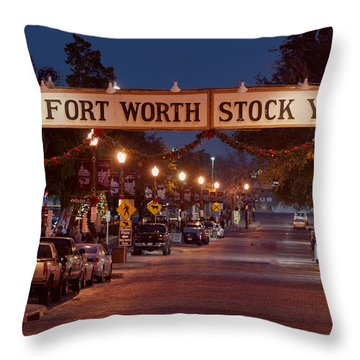 Fort Worth Stock Yards Night Throw Pillow