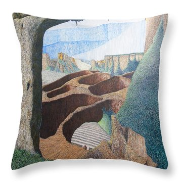 Throw Pillow featuring the painting Forte Rest by A  Robert Malcom