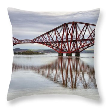 Forth Bridge Reflections Throw Pillow