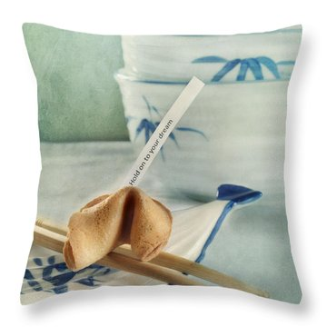 Fortune Cookie Throw Pillow by Priska Wettstein