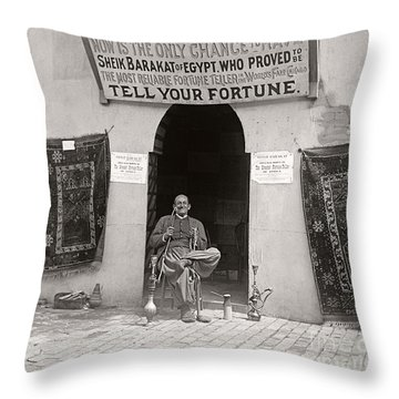 Throw Pillow featuring the photograph Fortune Teller San Francisco Exposition 1894 by Martin Konopacki Restoration