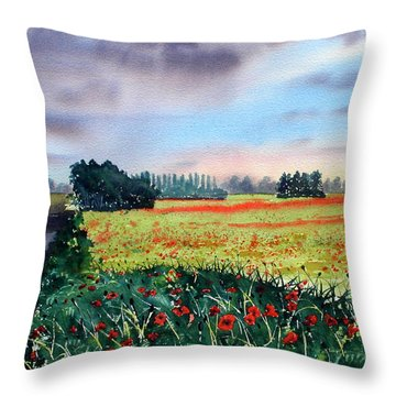 Forty Acre Field Near Easingwold Throw Pillow