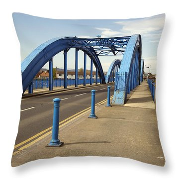 Foryd Bridge Throw Pillow by Christopher Rowlands