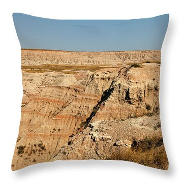 Fossil Exhibit Trail Badlands National Park Throw Pillow