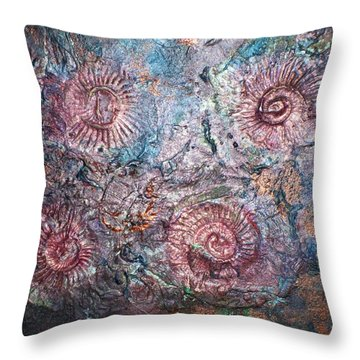 Fossils 1 Throw Pillow by Carol Rowland