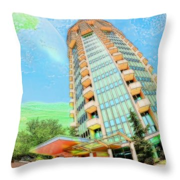 Founder's Tower In Oklahoma City Throw Pillow by Liane Wright