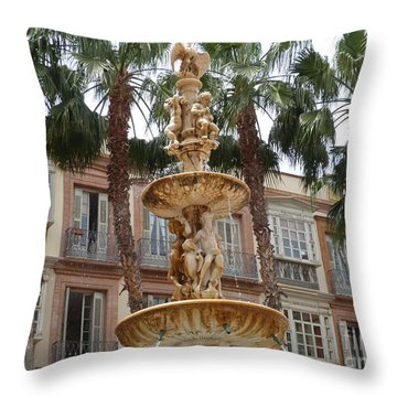 Fountain And Palms - Malaga Throw Pillow