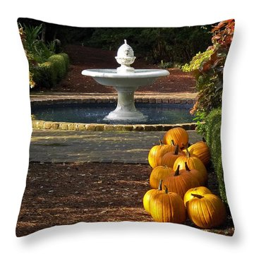Throw Pillow featuring the photograph Fountain And Pumpkins At The Elizabethan Gardens by Greg Reed