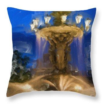 Fountain At Dusk Throw Pillow by Ayse Deniz
