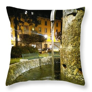 Fountain At Night Throw Pillow by Giuseppe Epifani