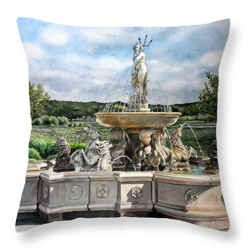 Fountain At The Vineyards Edge Throw Pillow by Gail Chandler