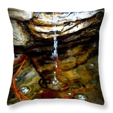 Throw Pillow featuring the photograph Fountain Drops by Tara Potts