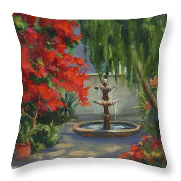 Relaxing In The Courtyard Throw Pillow