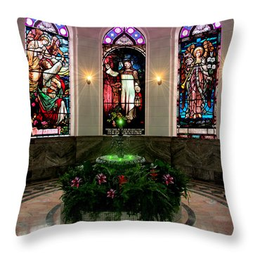Throw Pillow featuring the digital art Fountain Of Peace by Michael Rucker