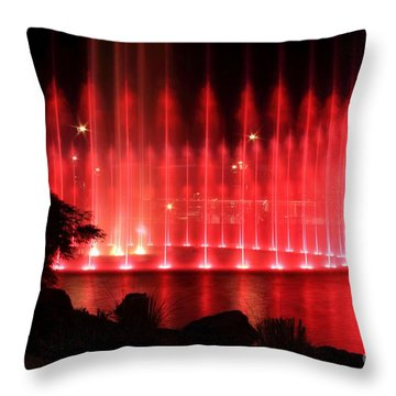 Fountain Of Red Throw Pillow by Geraldine DeBoer