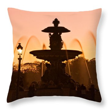 Fountain On Place De La Concorde At Dusk / Paris Throw Pillow