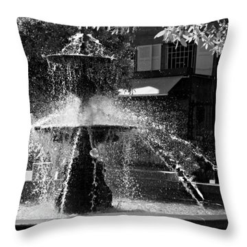 Fountain On Place Toulzac / Brive La Gaillarde Throw Pillow