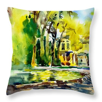 Fountain Spray - Brussels In Spring Throw Pillow by Anna Lobovikov-Katz