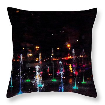 Throw Pillow featuring the photograph Fountains At City Garden by Kelly Awad