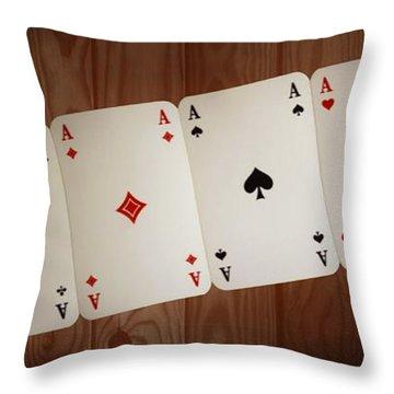 The Four Aces Throw Pillow by Daniel Precht