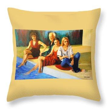 Four At A  Pool Throw Pillow