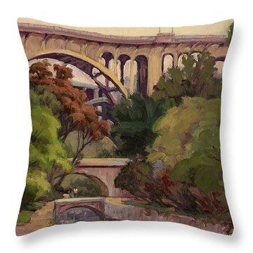 Four Bridges Throw Pillow by Jane Thorpe