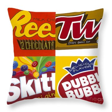 Four Candy Throw Pillow by Carla Bank
