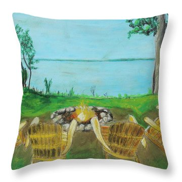 Throw Pillow featuring the painting Four Chairs by Jeanne Fischer
