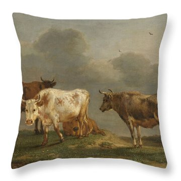 Four Cows In A Meadow Throw Pillow
