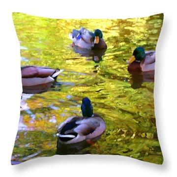 Four Ducks On Pond Throw Pillow