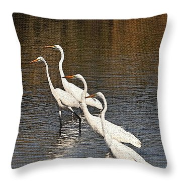 Four Egrets Fishing Throw Pillow by Tom Janca