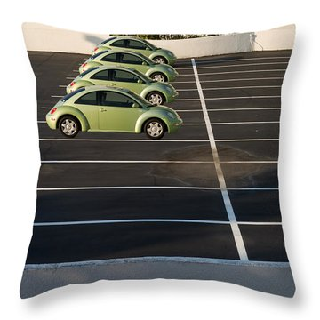 Four Green Beetles Throw Pillow