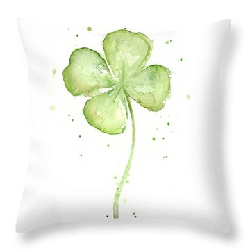Four Leaf Clover Lucky Charm Throw Pillow