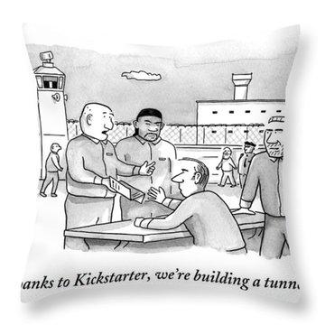 Four Men Converse Outdoors In A Prisoner Throw Pillow