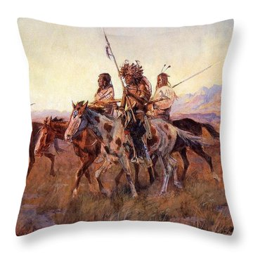Four Mounted Indians Throw Pillow by Charles Russell
