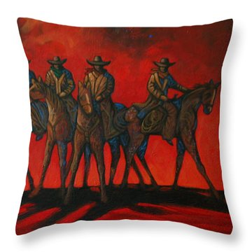Four On The Hill Throw Pillow by Lance Headlee