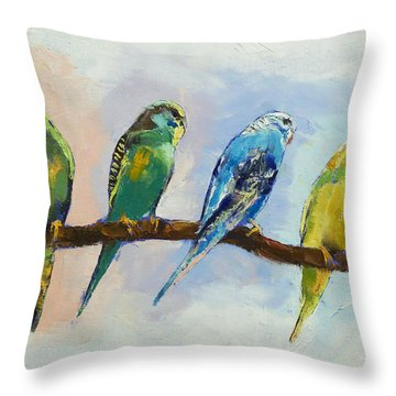 Four Parakeets Throw Pillow