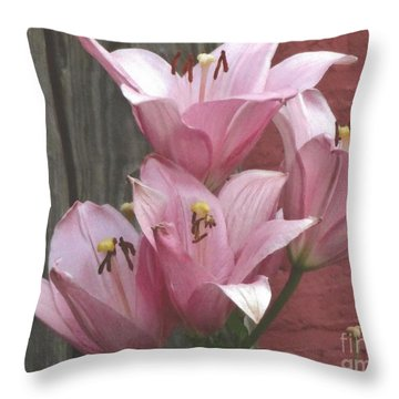 Four Pink Asiatic Lilies Throw Pillow