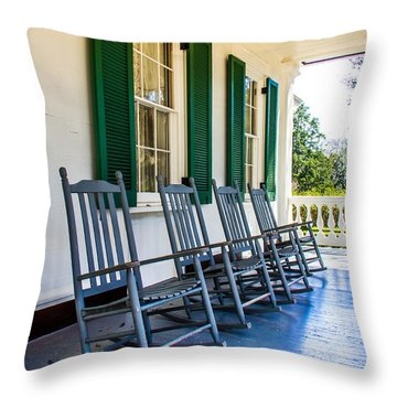 Four Porch Rockers Throw Pillow by Perry Webster