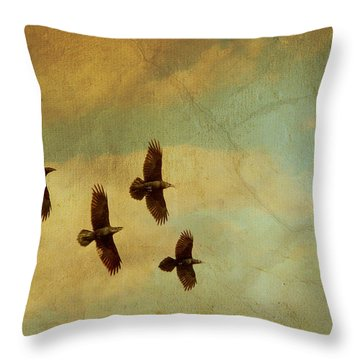 Throw Pillow featuring the photograph Four Ravens Flying by Peggy Collins