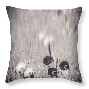 Four Red Tulips And Two Yellow Ones Throw Pillow by Silvia Ganora