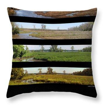 Four Seasons Along The Potomac Throw Pillow