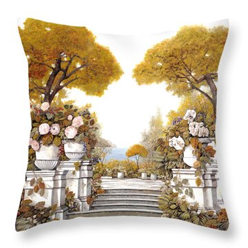 four seasons-autumn on lake Maggiore Throw Pillow by Guido Borelli