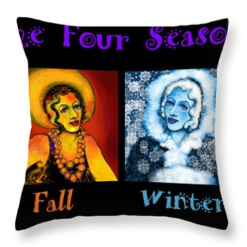 Four Seasons In A Row Throw Pillow by Carol Jacobs