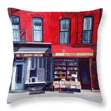 Four Shops On 11th Ave Throw Pillow by Anthony Butera