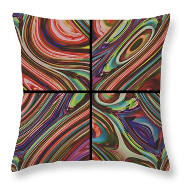 Four Squares Throw Pillow by Susan Leggett