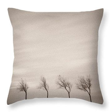 Four Trees Throw Pillow by Dave Bowman