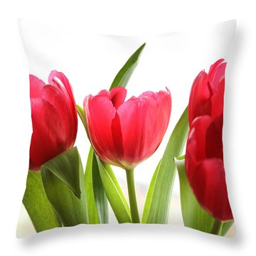 Four Tulips Throw Pillow