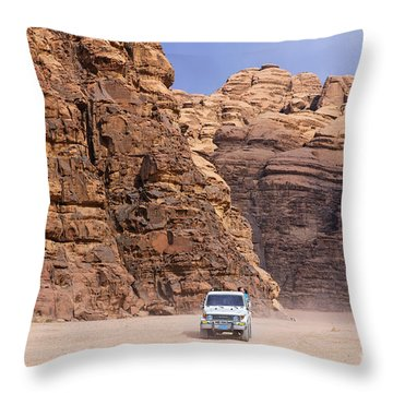 Four Wheel Drive Vehicles At Wadi Rum Jordan Throw Pillow by Robert Preston