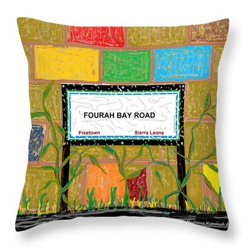 Throw Pillow featuring the digital art Fourah Bay Road by Mudiama Kammoh